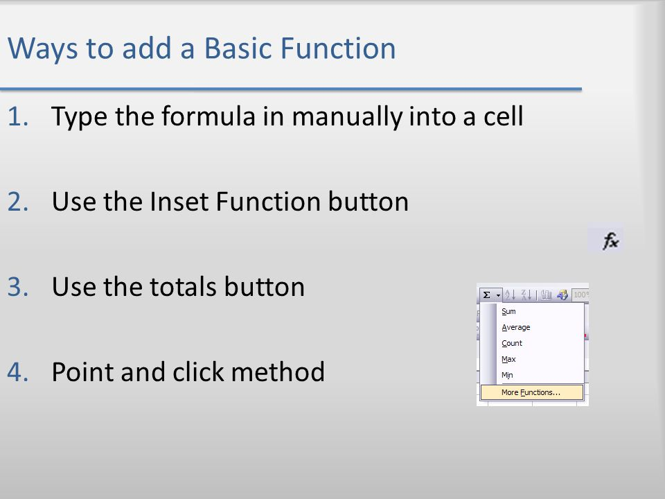 Ways to add a Basic Function