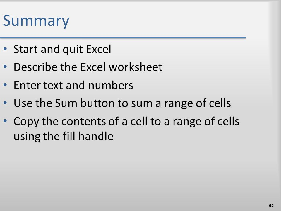 Summary Start and quit Excel Describe the Excel worksheet