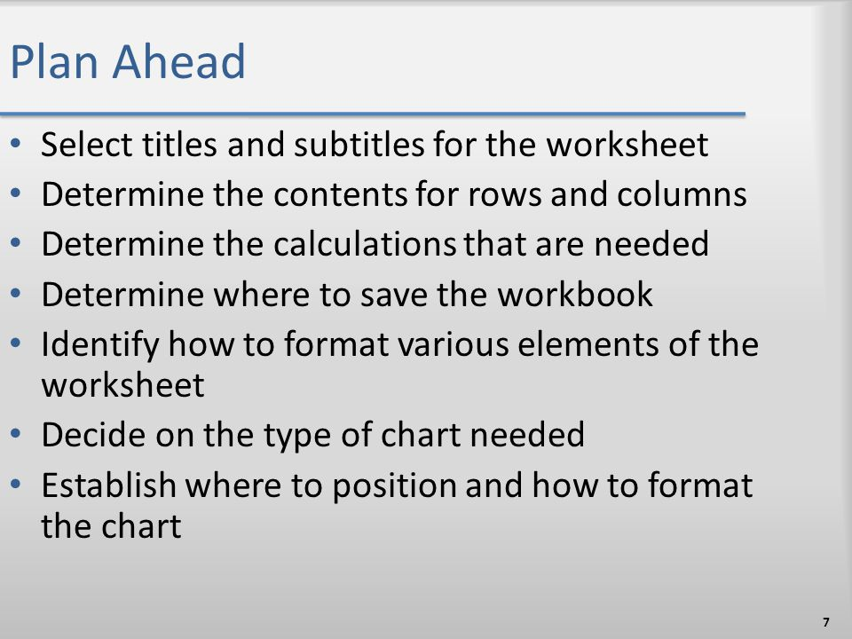 Plan Ahead Select titles and subtitles for the worksheet