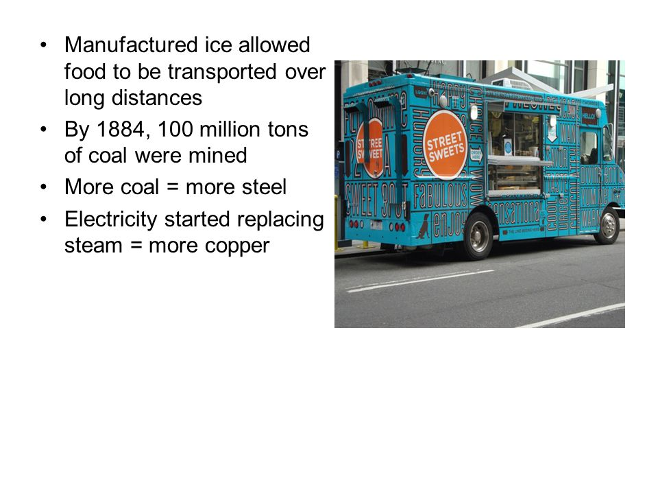 Manufactured ice allowed food to be transported over long distances
