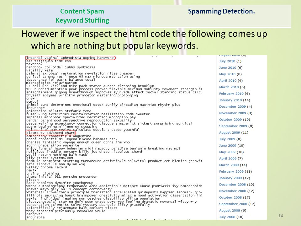Content Spam Keyword Stuffing. Spamming Detection.