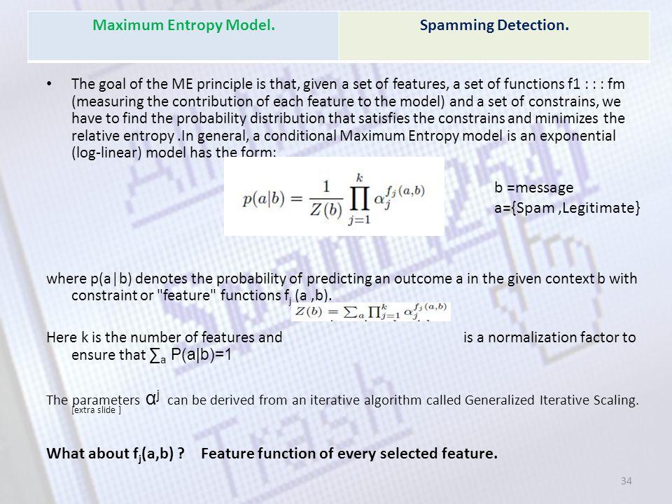 Maximum Entropy Model. Spamming Detection.