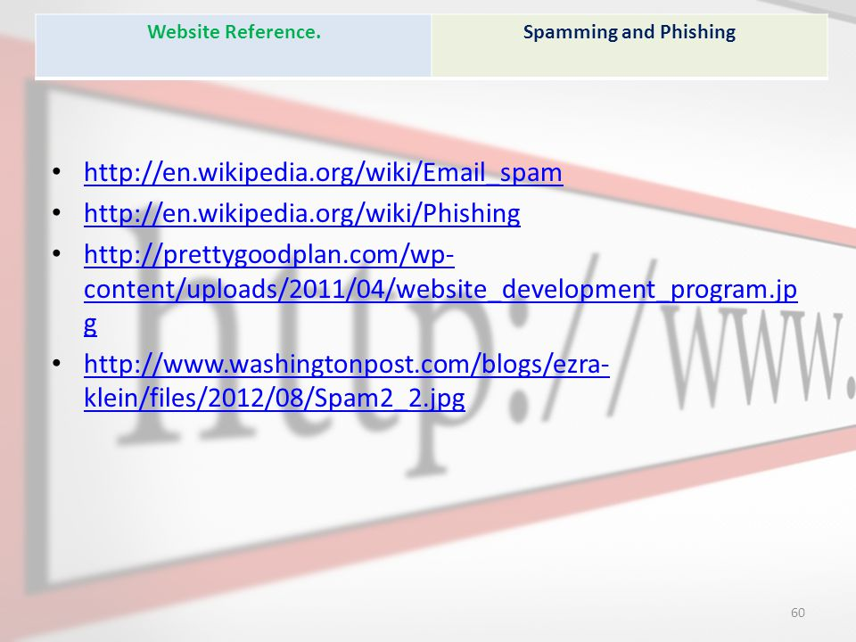 Website Reference. Spamming and Phishing. http://en.wikipedia.org/wiki/Email_spam. http://en.wikipedia.org/wiki/Phishing.