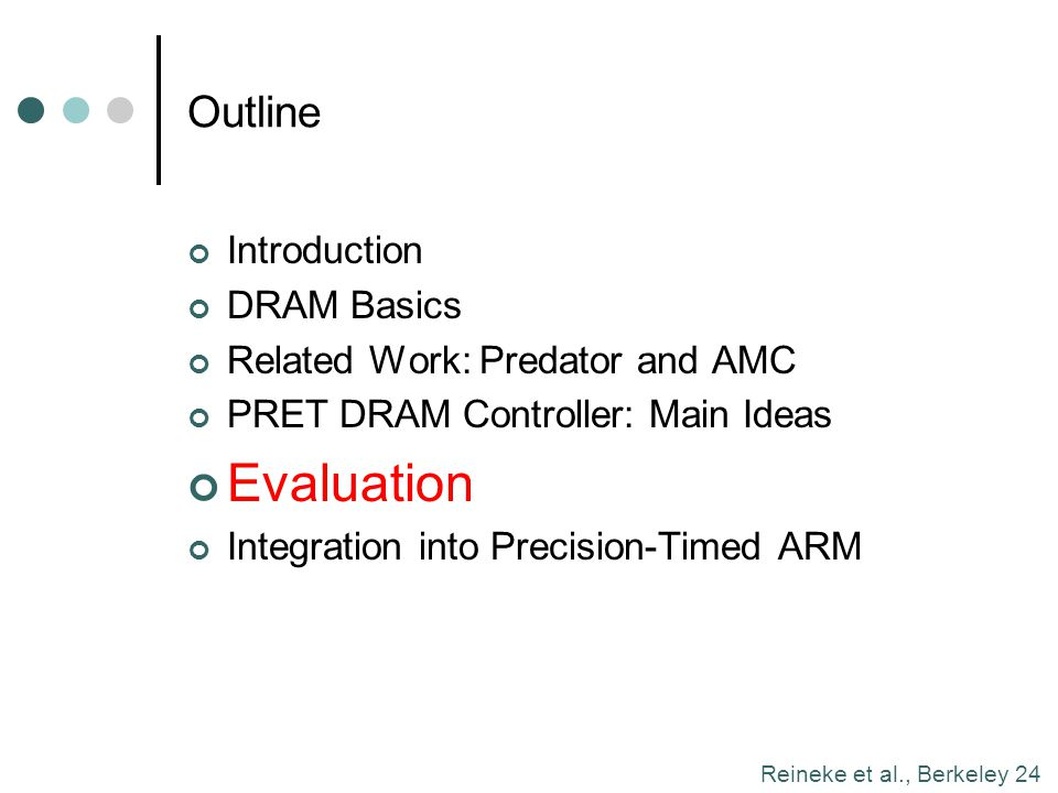 Evaluation Outline Introduction DRAM Basics