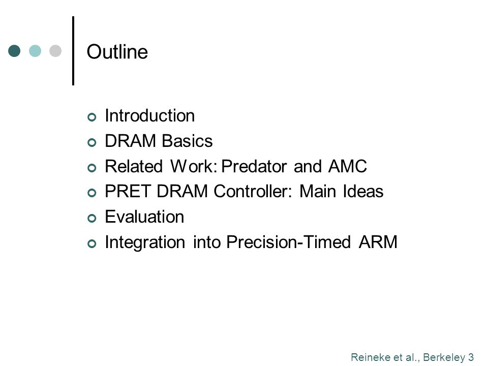 Outline Introduction DRAM Basics Related Work: Predator and AMC