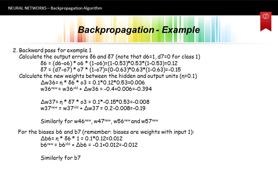Backpropagation - Example