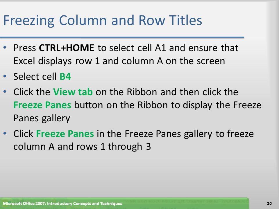 Freezing Column and Row Titles