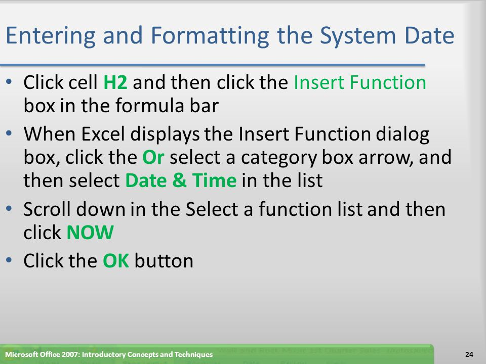 Entering and Formatting the System Date