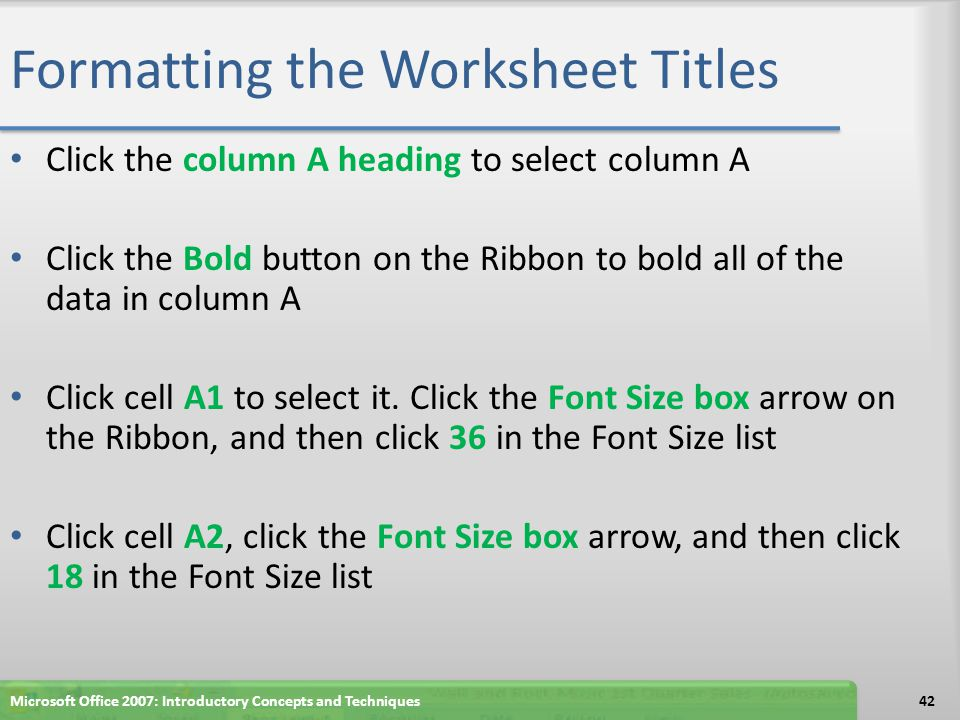 Formatting the Worksheet Titles