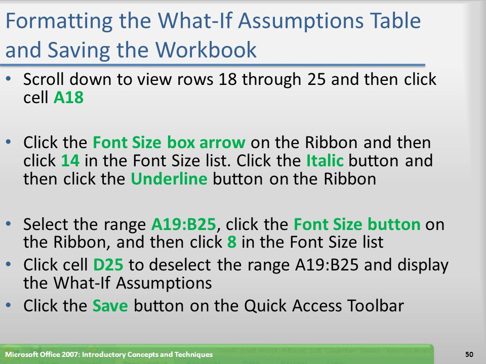 Formatting the What-If Assumptions Table and Saving the Workbook