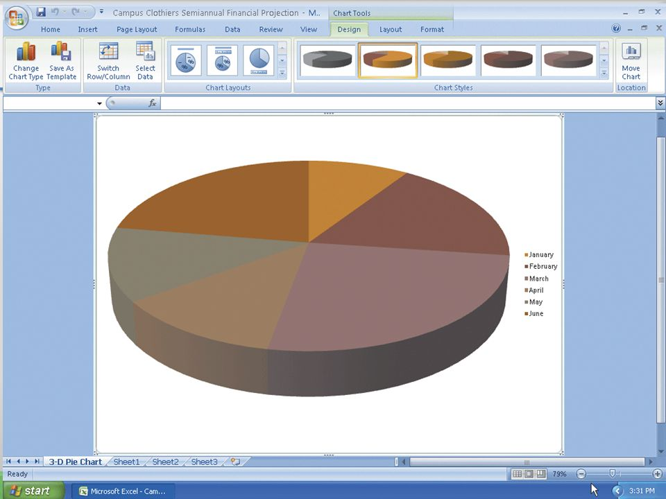 Drawing a 3-D Pie Chart on a Separate Chart Sheet