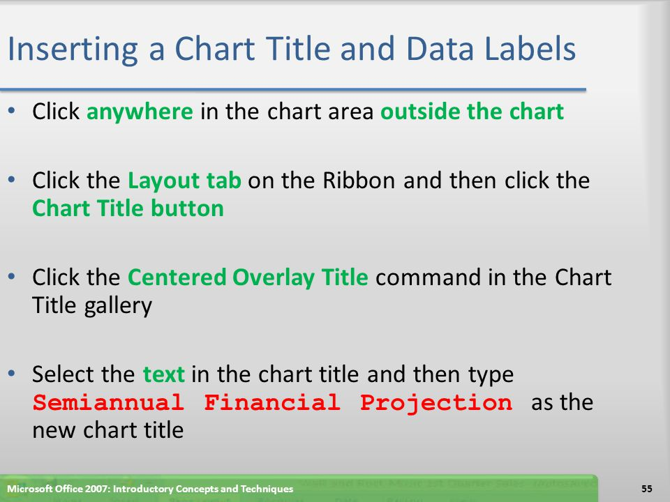 Inserting a Chart Title and Data Labels