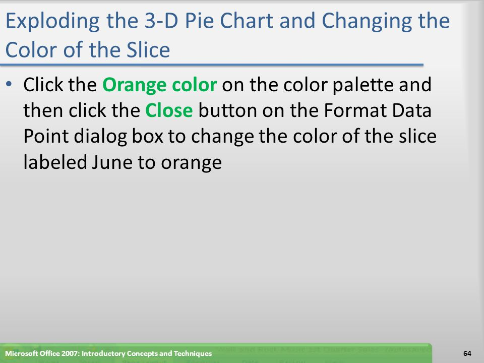 Exploding the 3-D Pie Chart and Changing the Color of the Slice