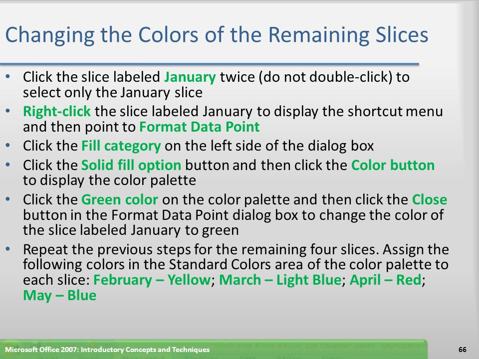Changing the Colors of the Remaining Slices