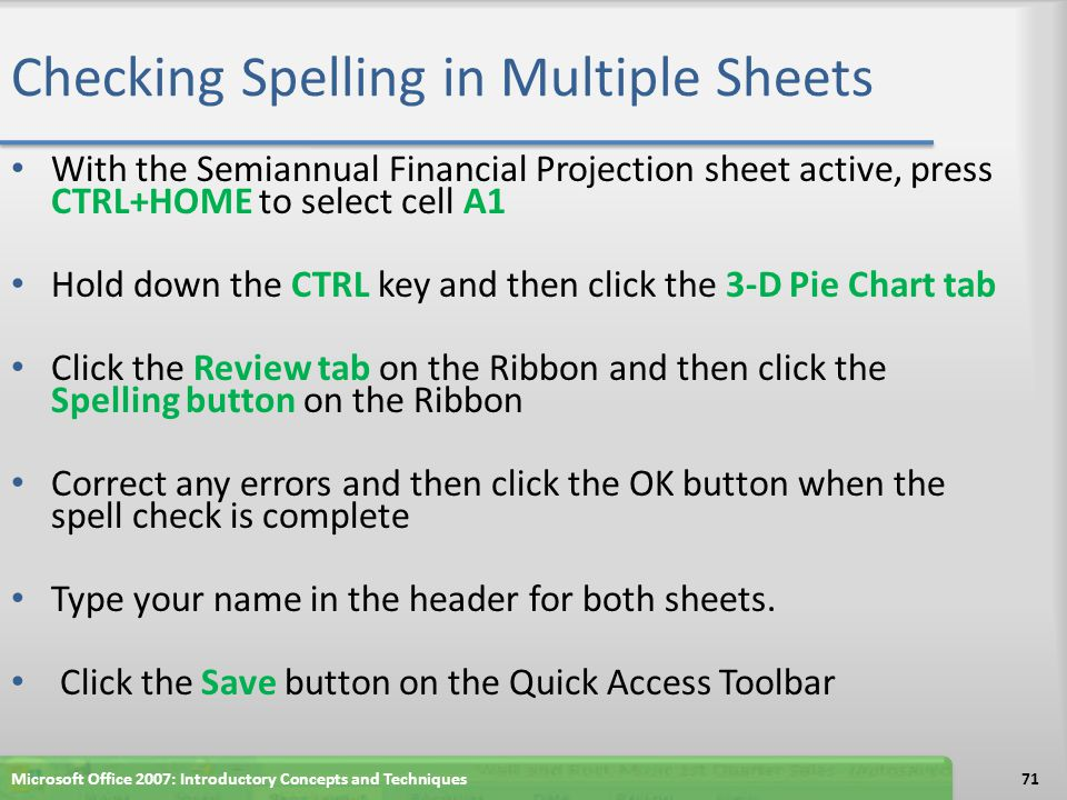 Checking Spelling in Multiple Sheets
