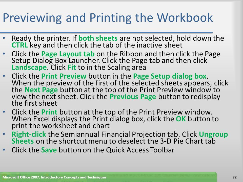 Previewing and Printing the Workbook