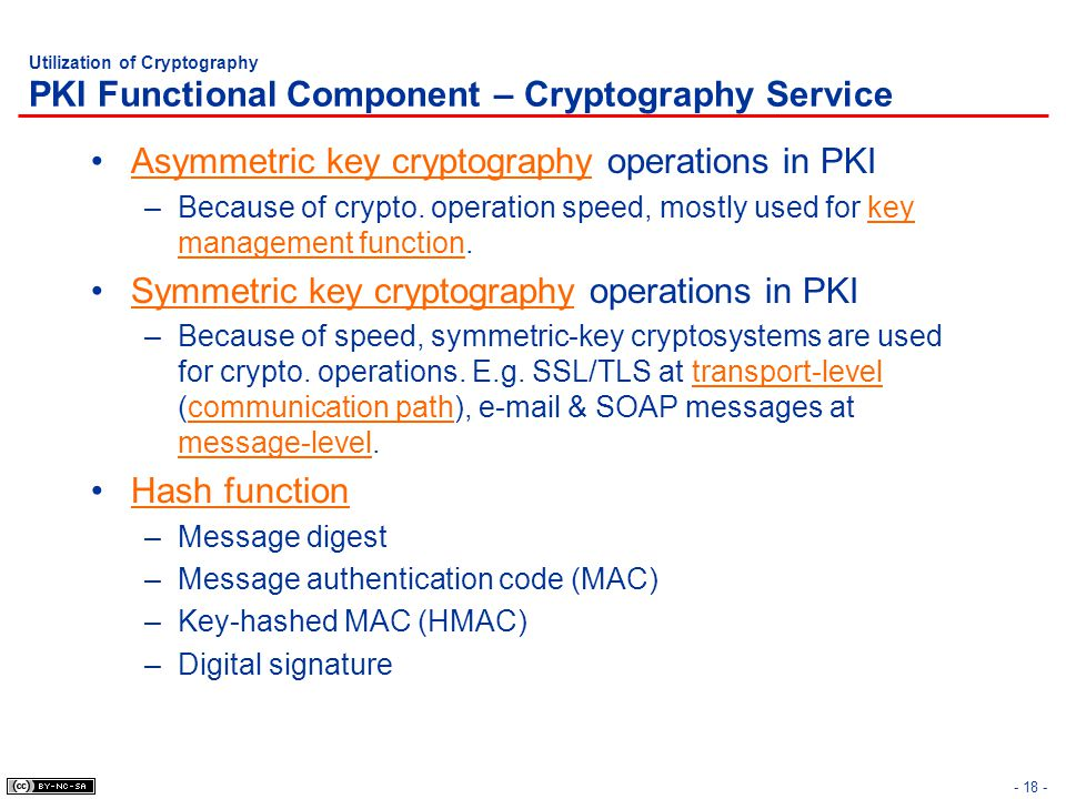 Asymmetric key cryptography operations in PKI