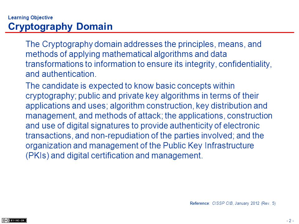 Learning Objective Cryptography Domain