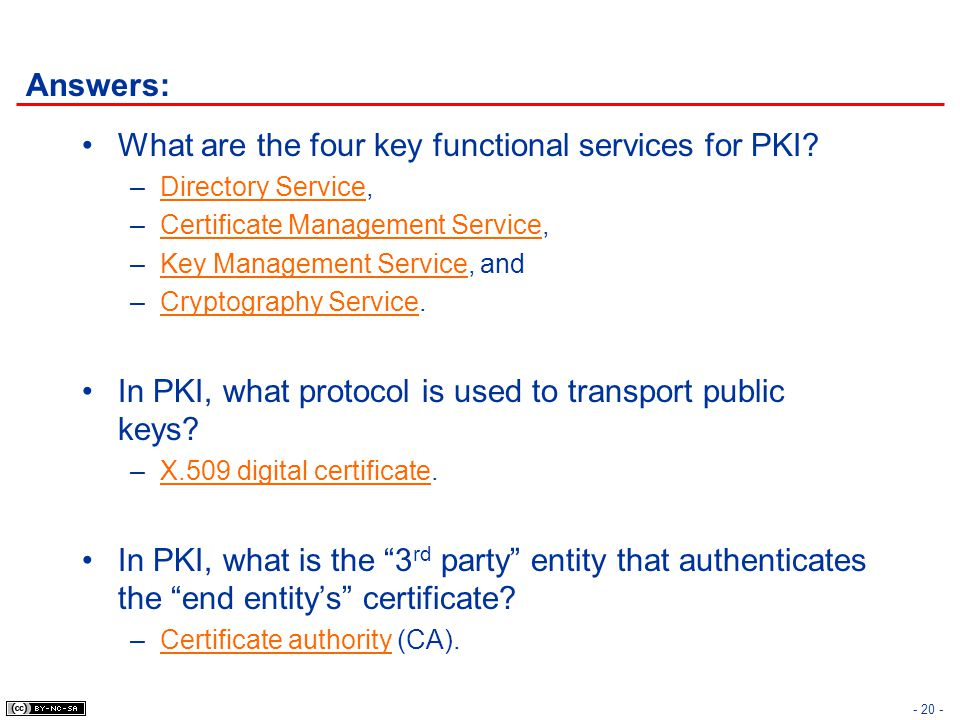 What are the four key functional services for PKI