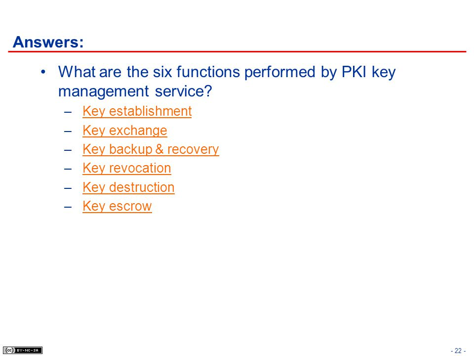 What are the six functions performed by PKI key management service