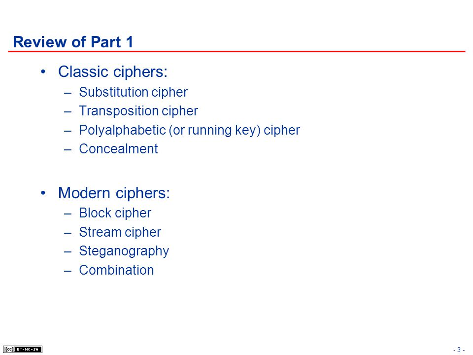 Review of Part 1 Classic ciphers: Modern ciphers: Substitution cipher