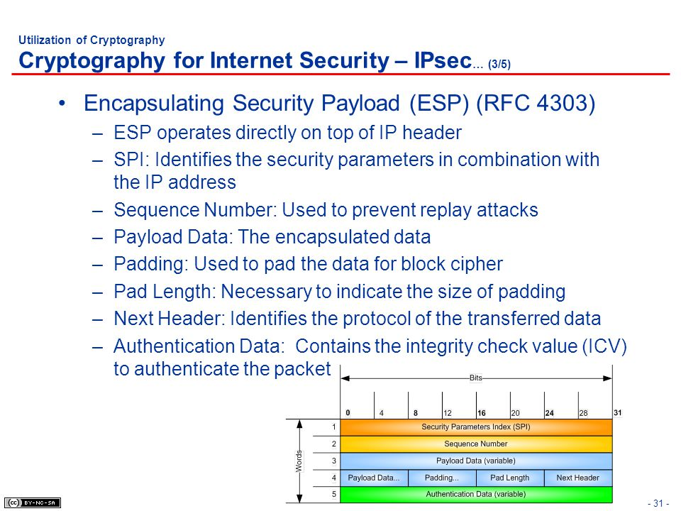 Encapsulating Security Payload (ESP) (RFC 4303)