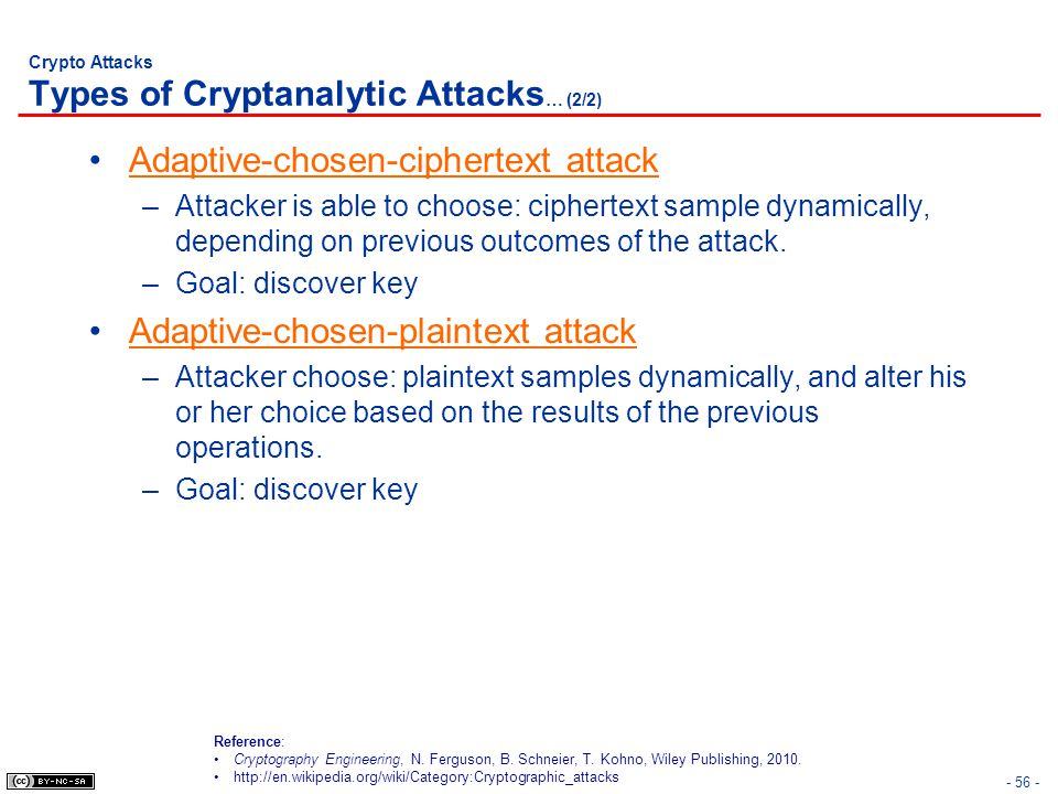 Crypto Attacks Types of Cryptanalytic Attacks… (2/2)