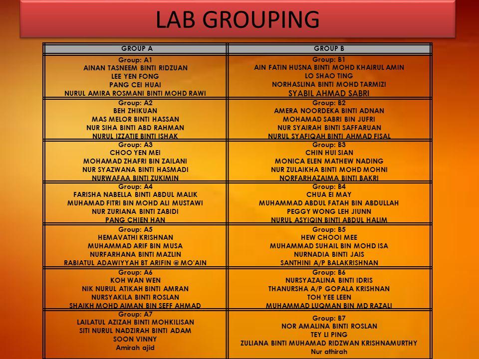 LAB GROUPING SYABIL AHMAD SABRI GROUP A GROUP B Group: A1