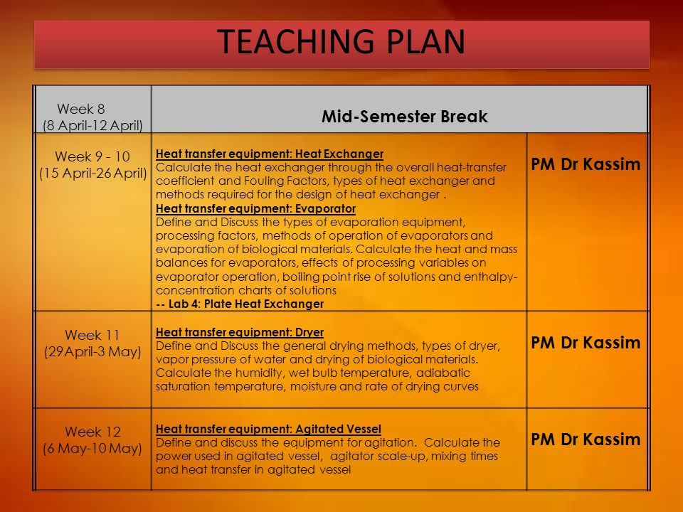 TEACHING PLAN Mid-Semester Break PM Dr Kassim Week 8