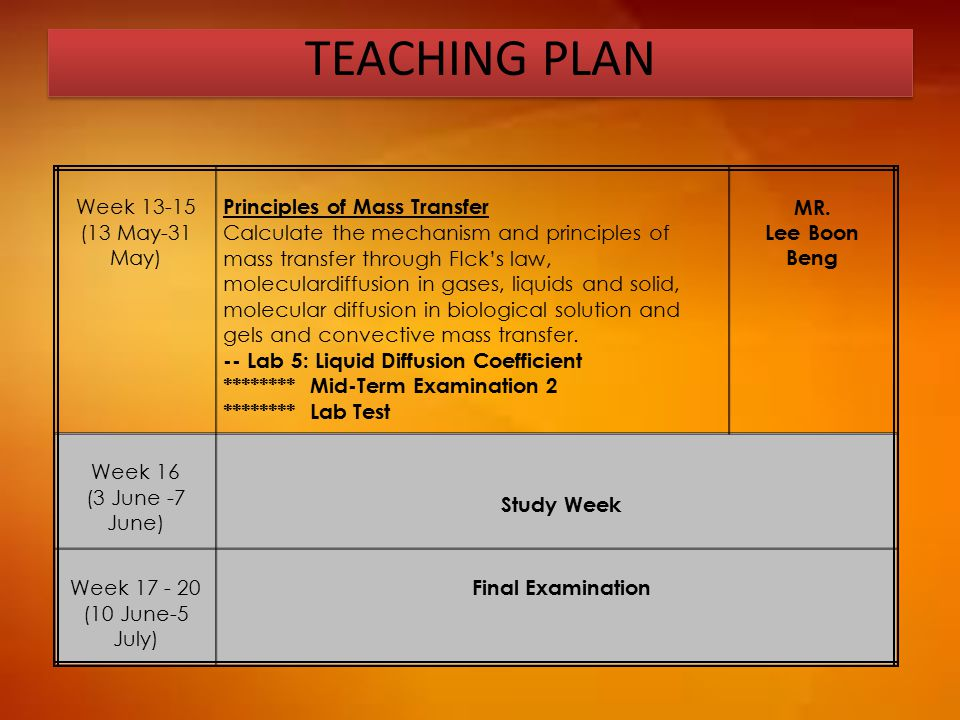 TEACHING PLAN Week 13-15 (13 May-31 May) Principles of Mass Transfer