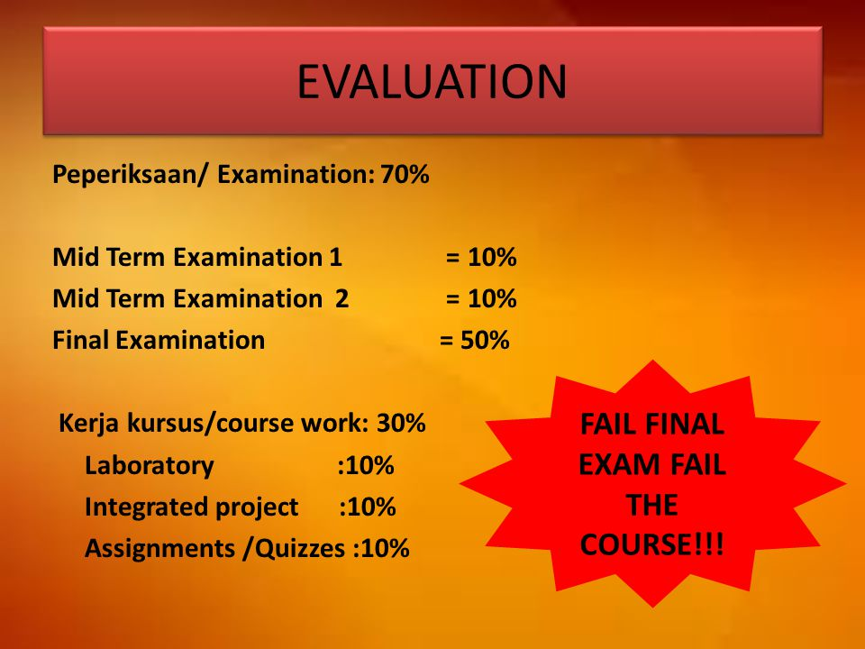 FAIL FINAL EXAM FAIL THE COURSE!!!