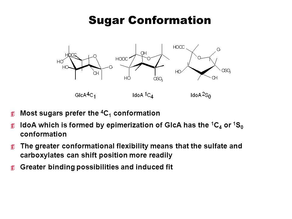 Sugar Conformation Most sugars prefer the 4C1 conformation