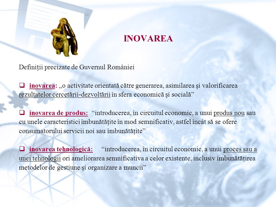INOVAREA Definiții precizate de Guvernul României