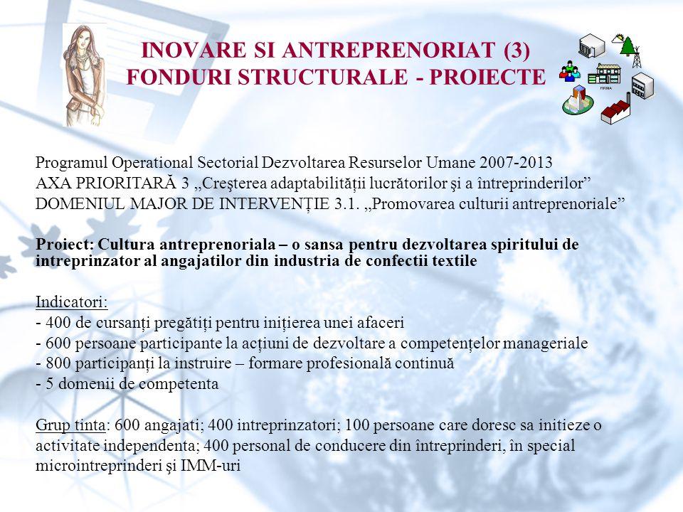 INOVARE SI ANTREPRENORIAT (3) FONDURI STRUCTURALE - PROIECTE