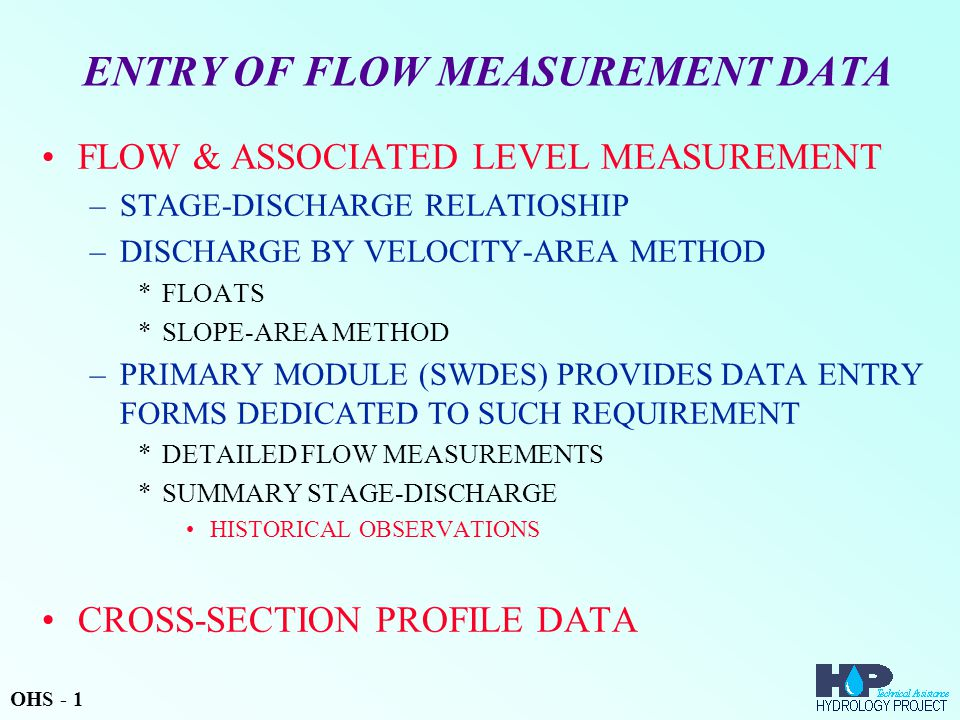 ENTRY OF FLOW MEASUREMENT DATA