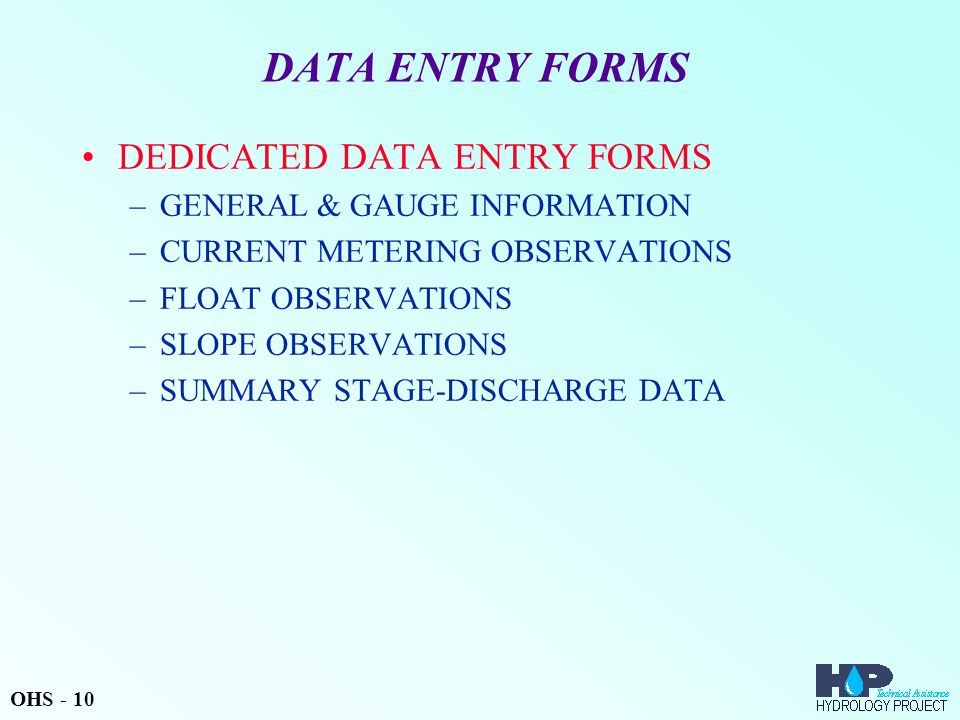 DATA ENTRY FORMS DEDICATED DATA ENTRY FORMS
