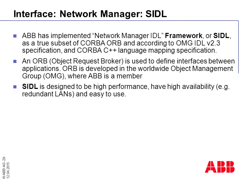 Interface: Network Manager: SIDL