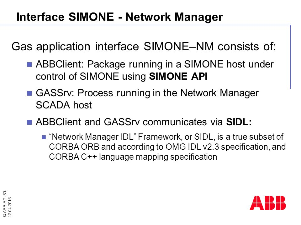 Interface SIMONE - Network Manager