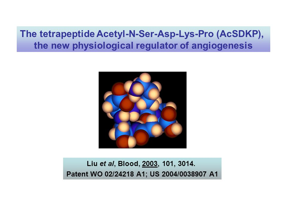 The tetrapeptide Acetyl-N-Ser-Asp-Lys-Pro (AcSDKP),