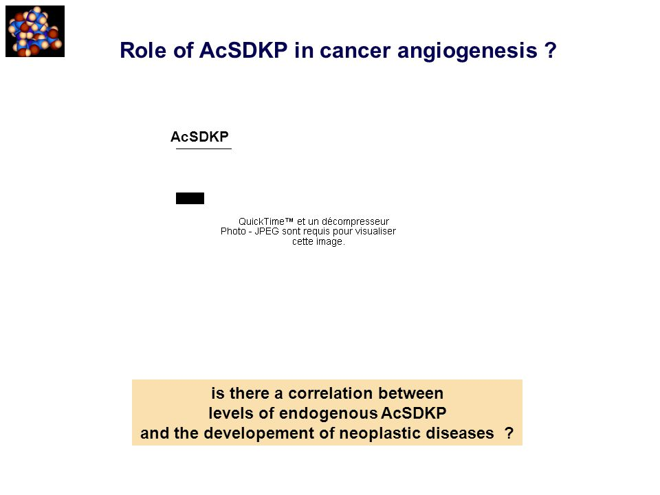Role of AcSDKP in cancer angiogenesis