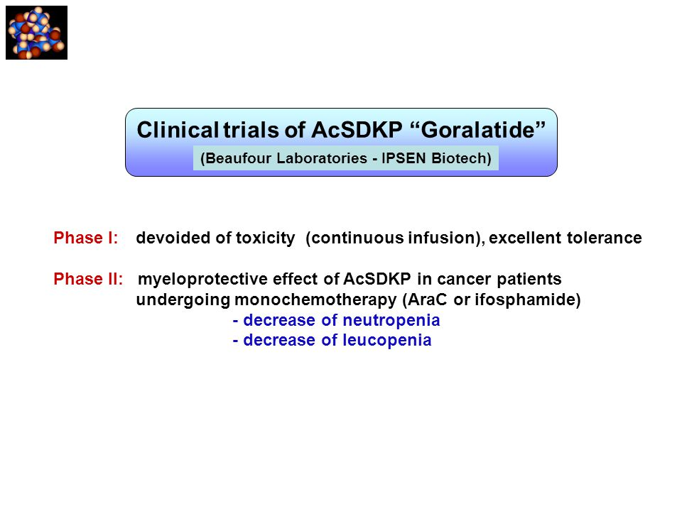 Clinical trials of AcSDKP Goralatide