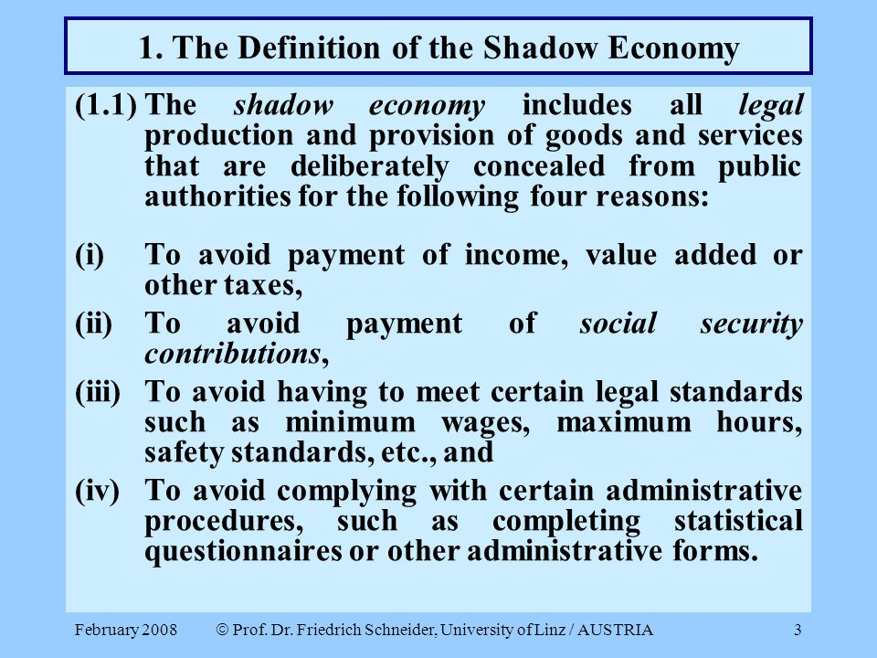 1. The Definition of the Shadow Economy