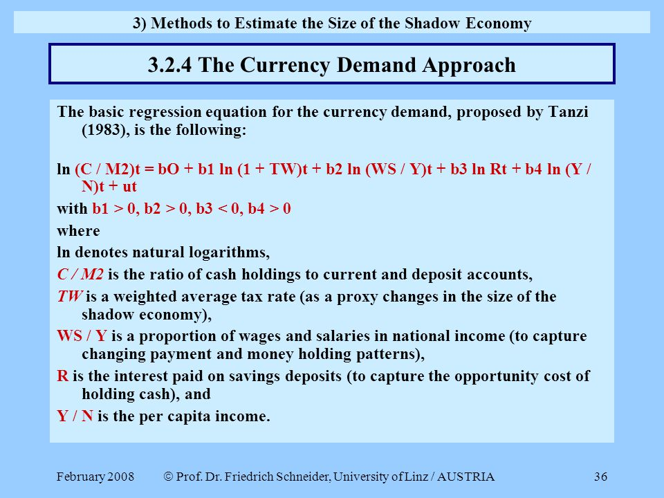 3.2.4 The Currency Demand Approach