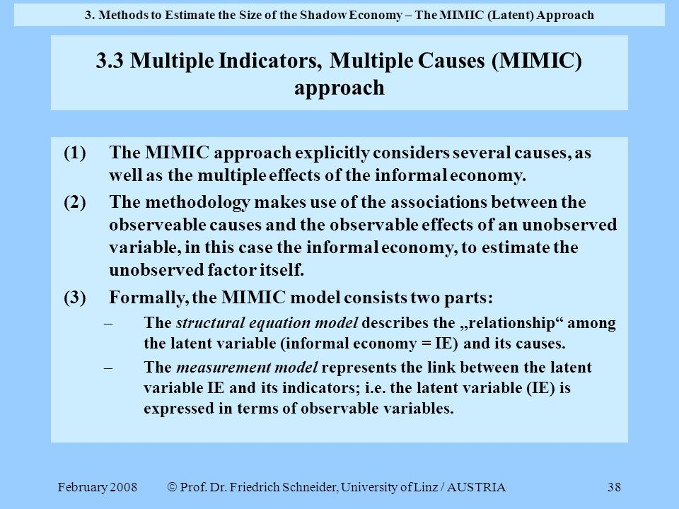 3.3 Multiple Indicators, Multiple Causes (MIMIC) approach