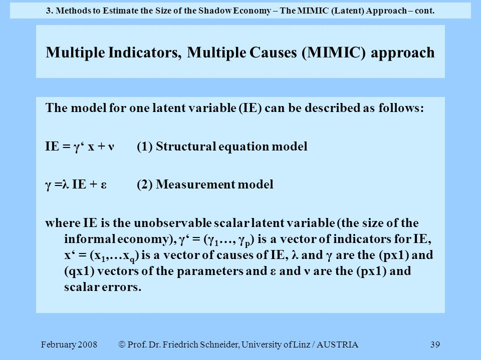Multiple Indicators, Multiple Causes (MIMIC) approach