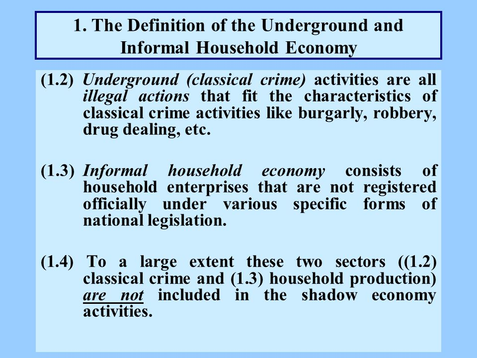 1. The Definition of the Underground and Informal Household Economy