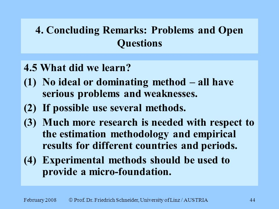 4. Concluding Remarks: Problems and Open Questions