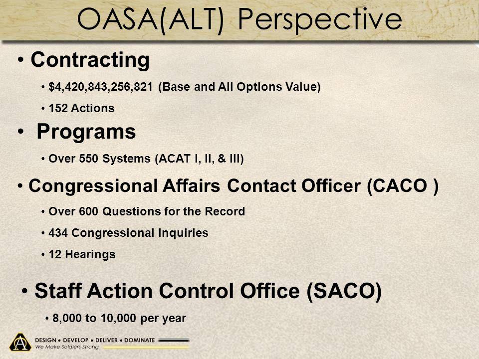 OASA(ALT) Perspective
