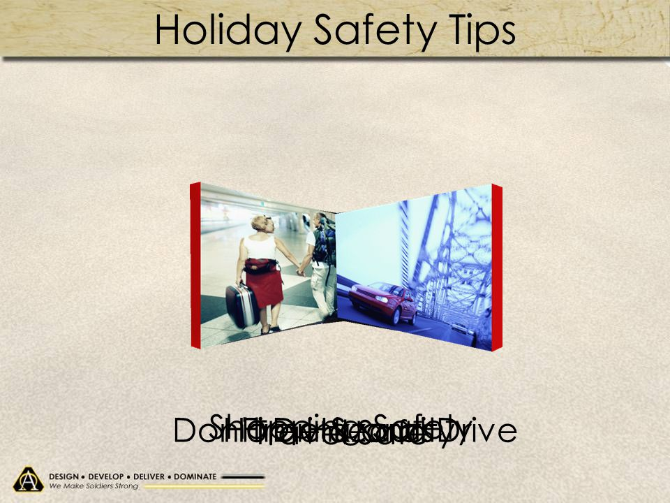 Holiday Safety Tips Don't Drink and Drive Shopping Safety