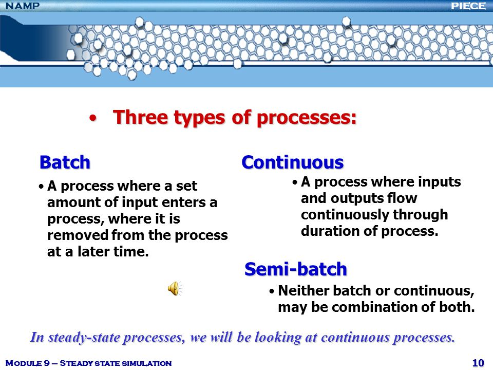 Three types of processes: